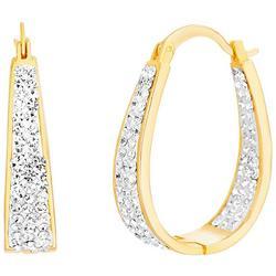 Crystal Hugge Oval Hoop Earrings