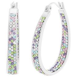 Colorful Crystal Oval Hoop Earrings