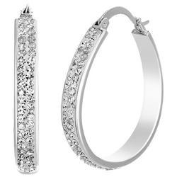 Clear Crystal Oval Hoop Earrings
