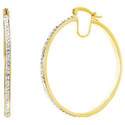 Goldtone Clear Crystal  Hoop Earrings