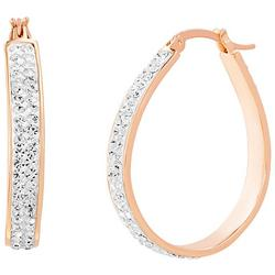 Rosegold Clear Crystal Oval Hoop Earrings
