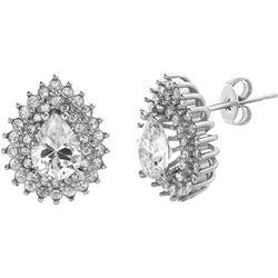 Clear Crystal Teardrop Stud Earrings