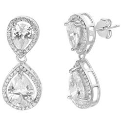 Lily Maris Clear Crystal Tear Drop Stud Earrings