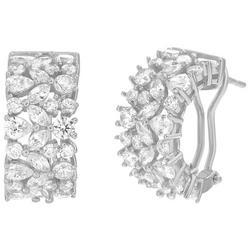 Clear Crystal C Hinged Earrings