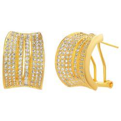 Clear Crystal Goldtone C Hinged Earrings