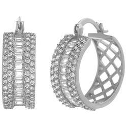Fancy Clear Crystal C Hinged Earrings