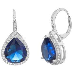 Faux Sapphire Teardrop Earrings