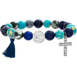 Balance Beads Blue Multi Stone & Cross Bracelet