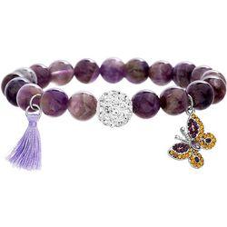 Balance Beads Purple Agate & Butterfly Bracelet