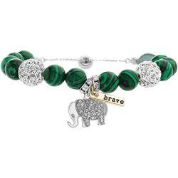 Malachite Beads & Elephant Bracelet