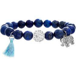 Balance Beads Blue Lapis & Elephant Charm Bracelet