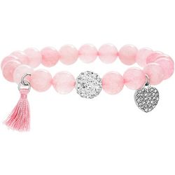 Balance Beads Rose Quartz & Heart Charm Bracelet