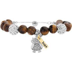 Tiger Eye Bead & Owl Slide Bracelet