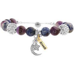Purple Agate Moon & Star Bracelet