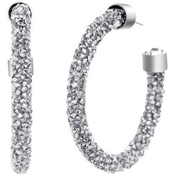 Crystal Energy Silver Multi Crystal C Hoop Earring