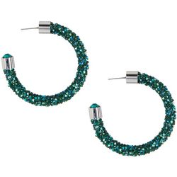 Crystal Energy Emerald Green Crystal Elements Hoop Earrings