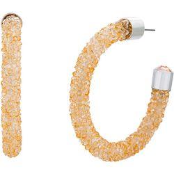 Crystal Energy Champagne Crystal C Hoop Earrings