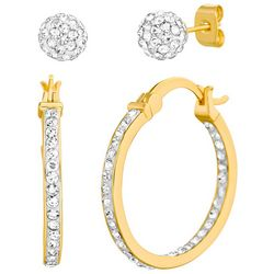 Piper & Taylor 2-Pc Pave Hoop & Ball Stud Earring Set