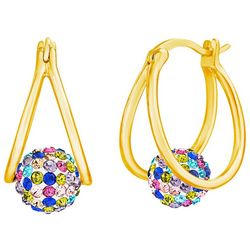 Piper & Taylor Suspended Pave Ball Oval Split Hoop Earrings