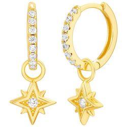 Piper & Taylor Starburst Pave Huggie Hoop Earrings