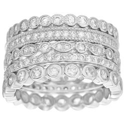 Piper & Taylor Silvertone 5-Row Stacked CZ Ring