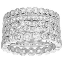 Silvertone 5-Row Stacked CZ Ring
