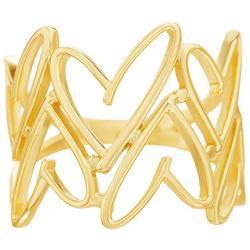 Goldtone Open Heart Ring