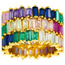3-Row Goldtone Colorful CZ Ring