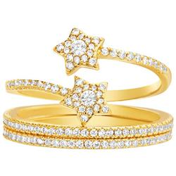 Goldtone Pave Star Coiled Ring