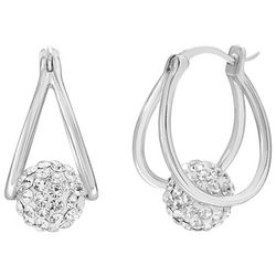 Piper & Taylor Pave Suspended Ball Oval Split Hoop Earrings