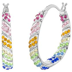 Piper & Taylor Colorful Pave Hoop Earrings