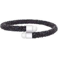 Crystal Energy Black Crystal & Pearl Cuff Bracelet