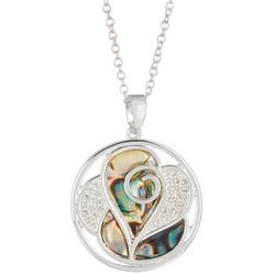 Juilliet Round Abalone Heart Pendant Necklace