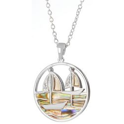 Juilliet Abalone Sailboats Round Pendant Necklace