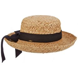 Scala Womens Straw Herringbone Bow Hat