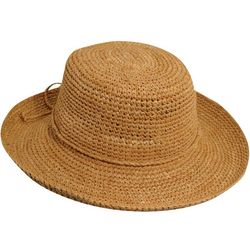 Scala Womens Crochet Raffia Drawstring Sun Hat