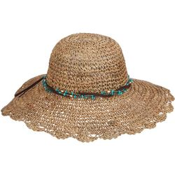 Scala Womens Seagrass Beaded Sun Hat