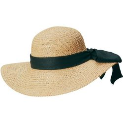 Scala Womens Raffia Linen Bow Sun Hat