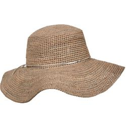 Scala Womens Crochet Raffia Metallic Band Sun Hat