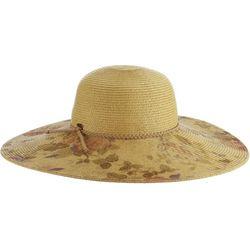 Scala Womens Print Paper Braid Big Brim Hat