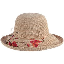 Scala Womens Flower Embroidered Sun Hat