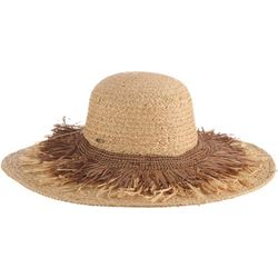 Scala Womens Braided and Fringe Raffia Sun Hat