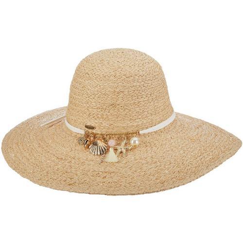 Scala Womens Braided Raffia Charm Sun Hat  d11e1b13a931