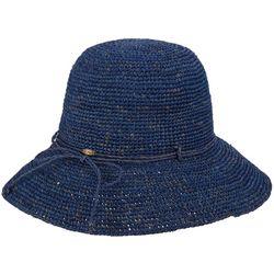 Scala Womens Dyed Crochet Raffia Sun Hat