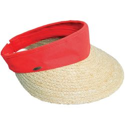 Scala Womens Dyed Cotton Crown Raffia Visor