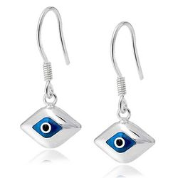 BLING Sterling Silver Evil Eye Glass Drop Earrings