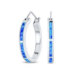 BLING Sterling Silver Opal Inlay Hoop Earrings