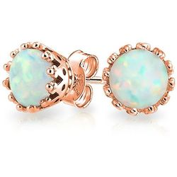 BLING Rose Gold Plated Opal Crown Stud Earrings
