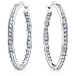 BLING Sterling Silver Inside Out Hoop Earrings
