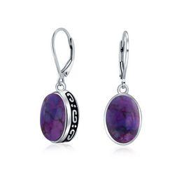 BLING Sterling Silver Purple Turquoise Earrings